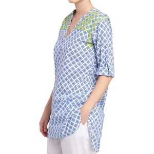 Hatley Floral Embroidered Tunic Top - Royal Blue